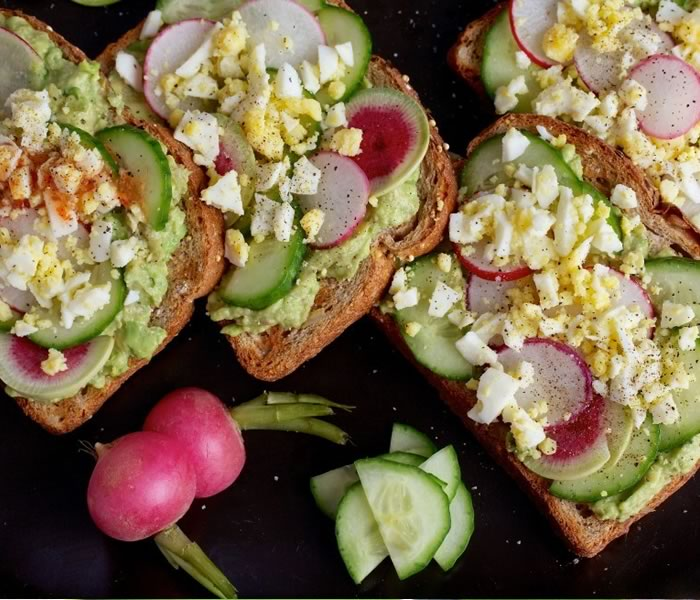 Avocado Toast with Egg, Cucumber and Radish