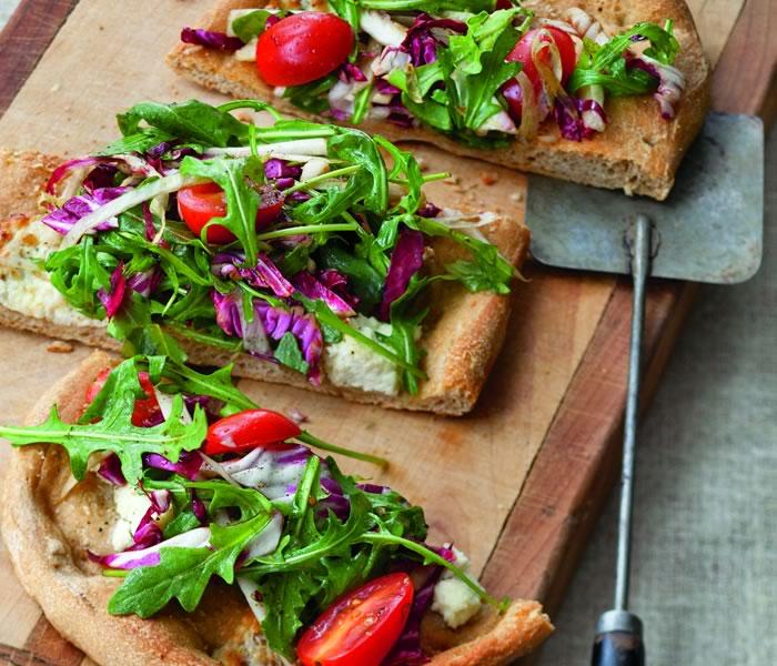 Individual Tri-Color Salad Pizzas - Ellie Krieger