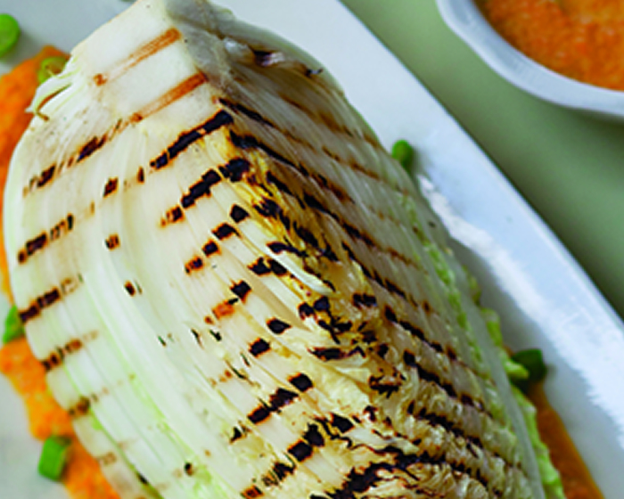 Grilled Napa Cabbage Wedges with Carrot-Ginger Dressing