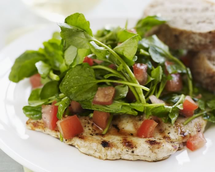 Chicken Paillard with Watercress and Tomato Salad