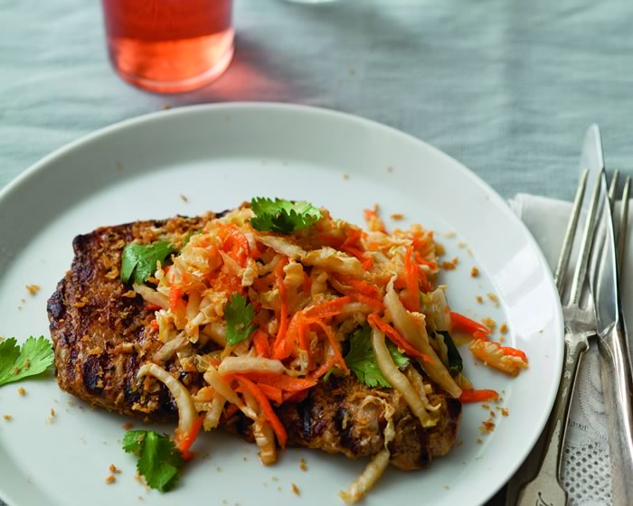 Pork Cutlets with Asian Slaw and Crispy Bread Crumbs