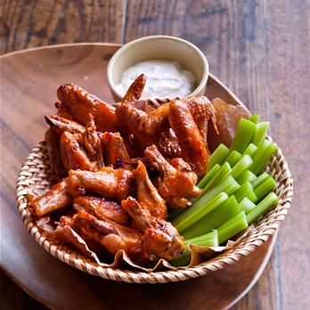 Broiled Buffalo Wings with Blue Cheese Dip - Ellie Krieger