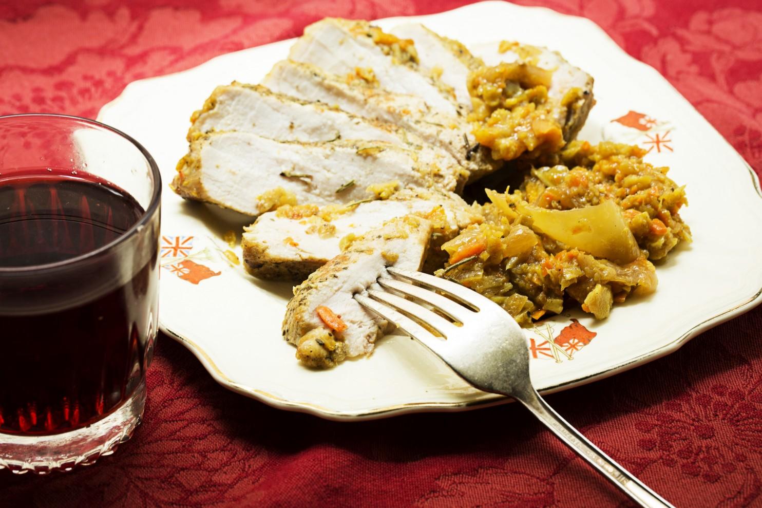 Herb-Rubbed Pork Chops with Warm Broccoli Slaw