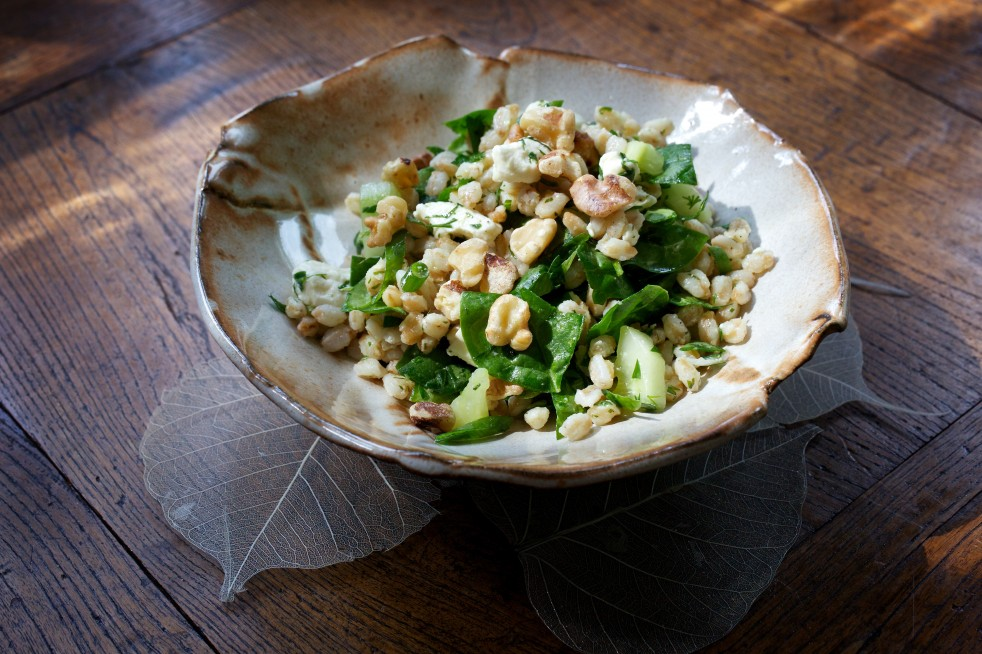 Herbed Farro Salad with Walnuts, Feta and Spinach