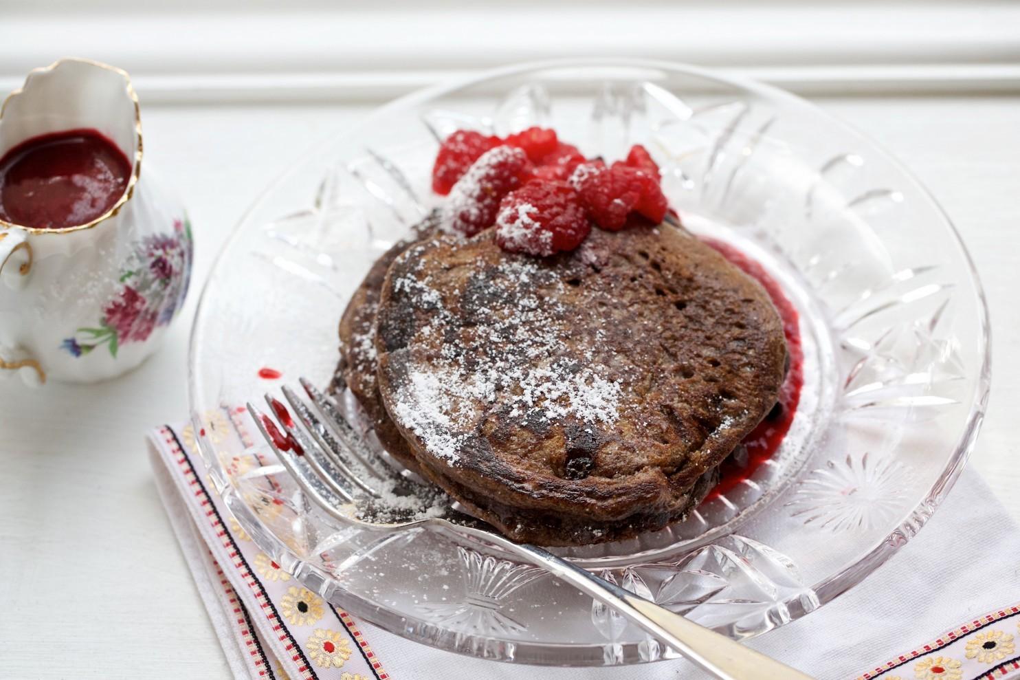 Double Chocolate Pancakes with Raspberry Sauce