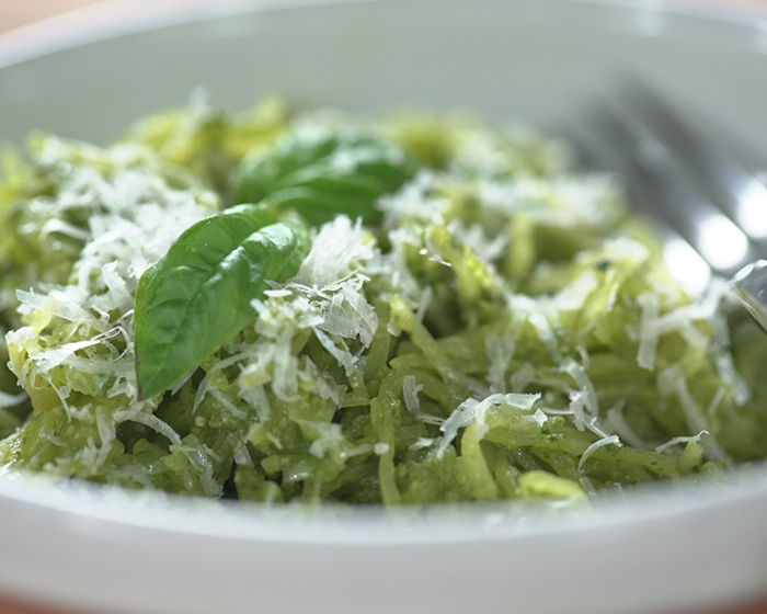 Spaghetti Squash with Basil Pesto