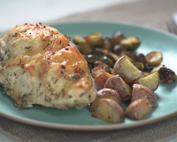 Sheet-Pan Dinner: Lemon-Garlic Chicken Breast with Roasted Rosemary Potatoes and Brussels Sprouts