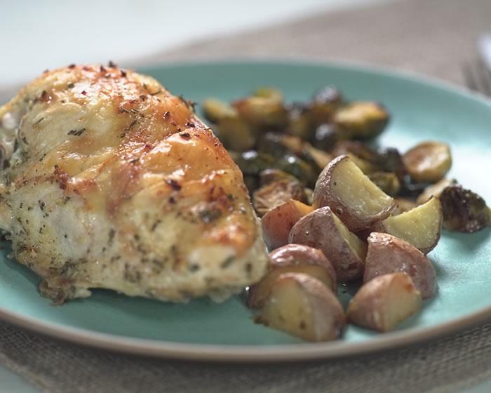 Sheet-Pan Dinner: Lemon-Garlic Chicken, Roasted Rosemary Potatoes & Brussels Sprouts