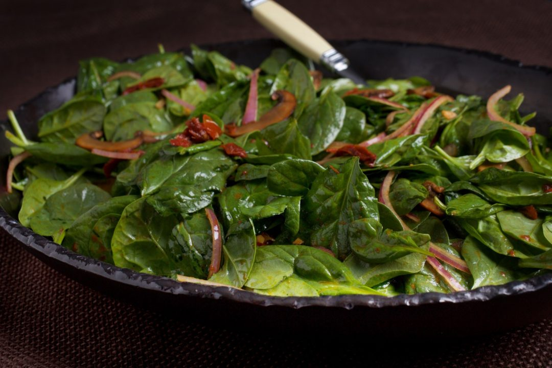 Warm Spinach Salad with Mushrooms and Sun Dried Tomatoes - Ellie ...