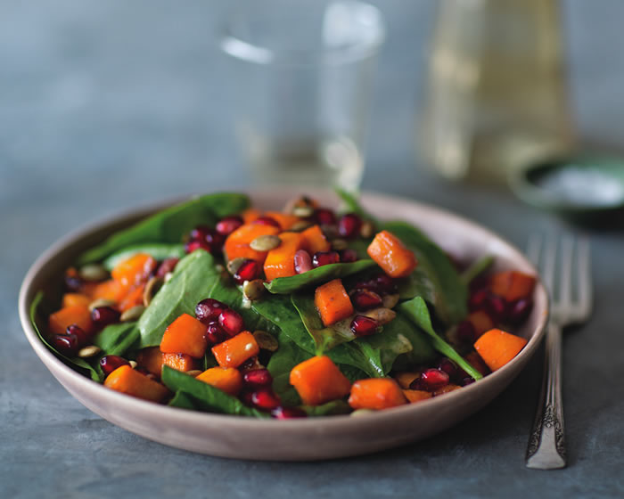 Spinach Salad with Roasted Squash, Pumpkin Seeds, and Pomegranate