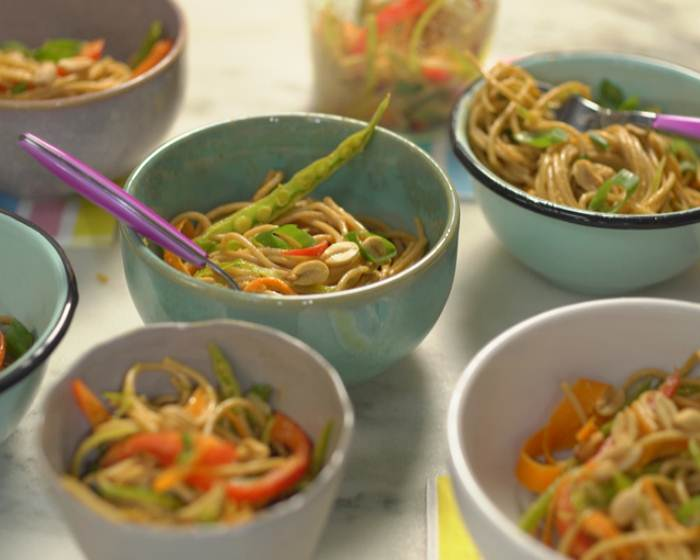 Asian Noodle Bowl with Peanut Dressing