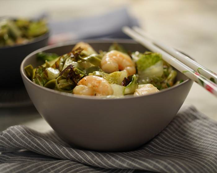 Wok Charred Lettuce and Noodle Stir Fry with Shrimp