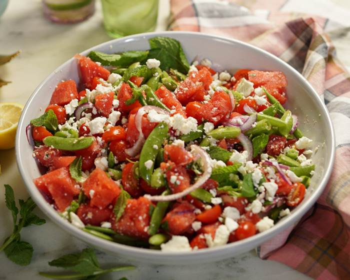 Snap Pea, Tomato and Watermelon Salad with Feta