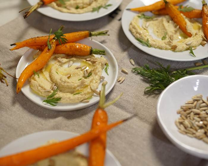 Hummus with Cumin Roasted Carrots