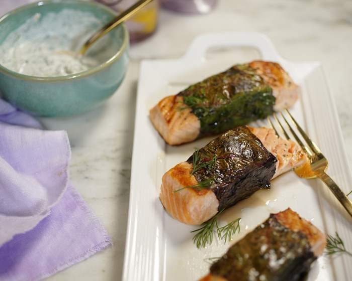 Salmon Wrapped in Greens with Walnut-Yogurt-Dill Sauce