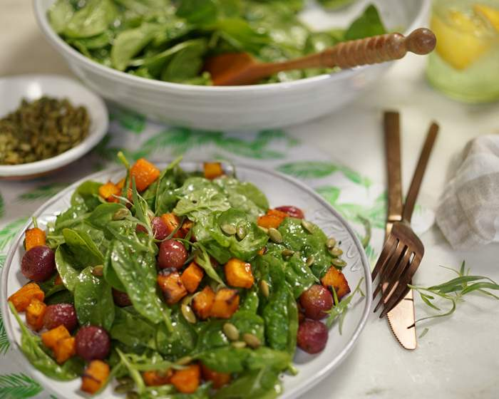 Spinach Salad with Roasted Squash, Roasted Grapes and Pumpkin Seeds