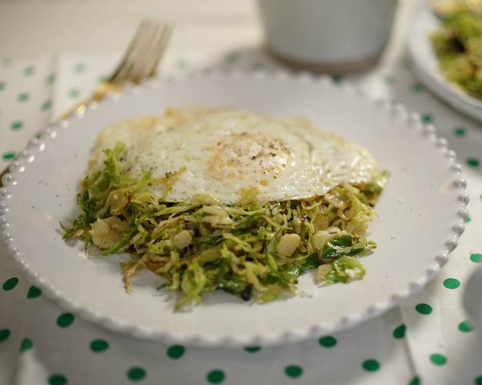 3-Ingredient Brussels Sprout Hash with Egg