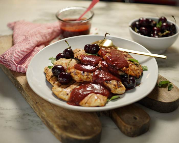 Grilled Chicken with Cherry Bourbon BBQ Sauce