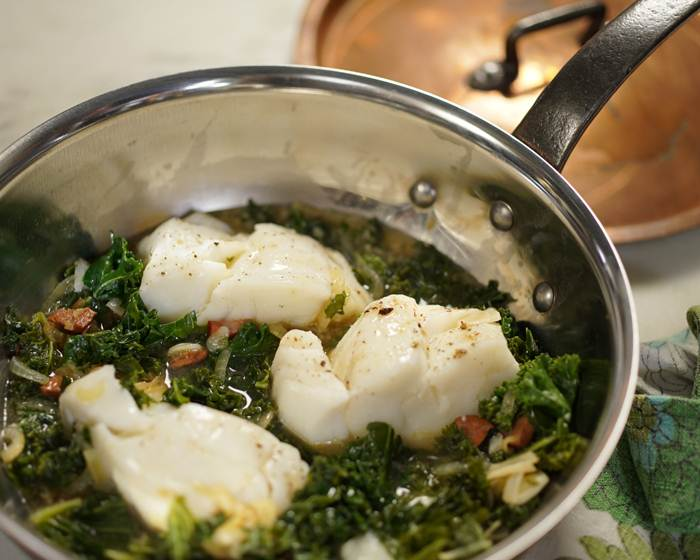 Cod with Kale and Chorizo in Broth