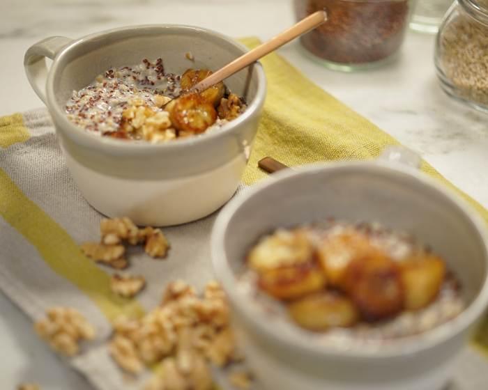 Breakfast Grain Bowl with Caramelized Banana