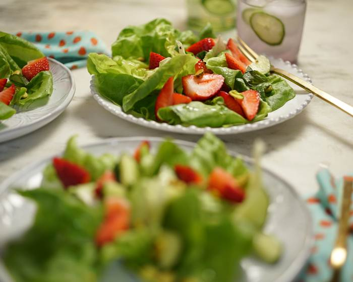 Tender Green Salad with Strawberries, Cucumber and Basil