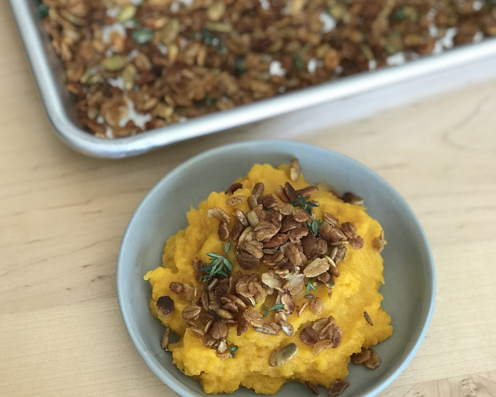 Roasted Butternut Squash with Savory Granola