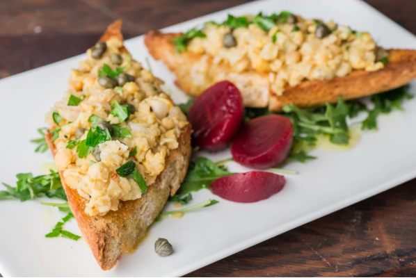 Mashed Chickpea Toast With Parsley And Capers