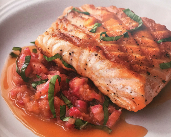 Salmon with Savory Rhubarb Sauce