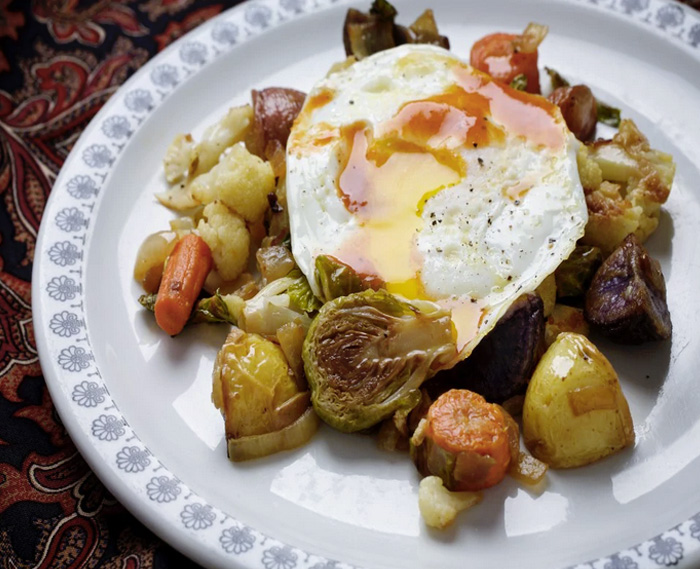 Roasted Vegetables Hash and Egg