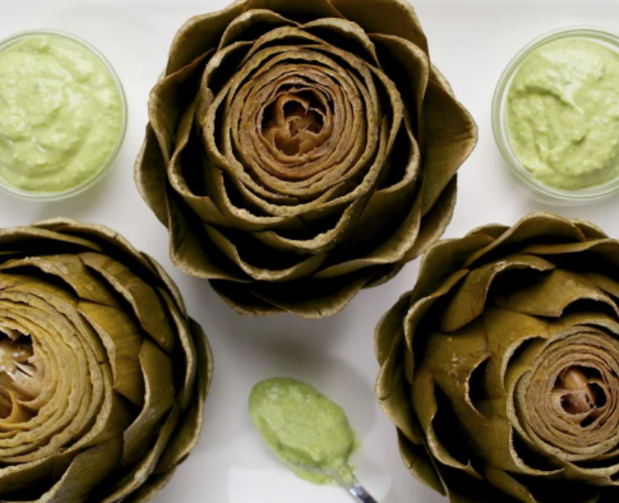 Steamed Artichokes With Saffron Yogurt Dip