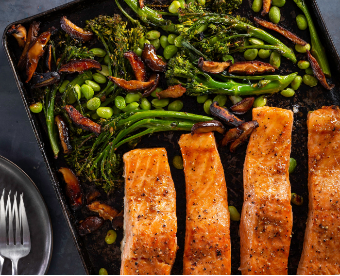 Roasted Salmon with Ginger-Soy Broccolini, Mushrooms, and Edamame