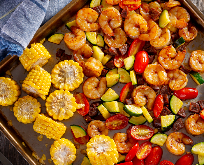 Smoky Shrimp with Corn, Zucchini, and Tomatoes