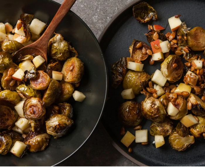 Roasted Brussels Sprouts With Apple and Sunflower Seeds