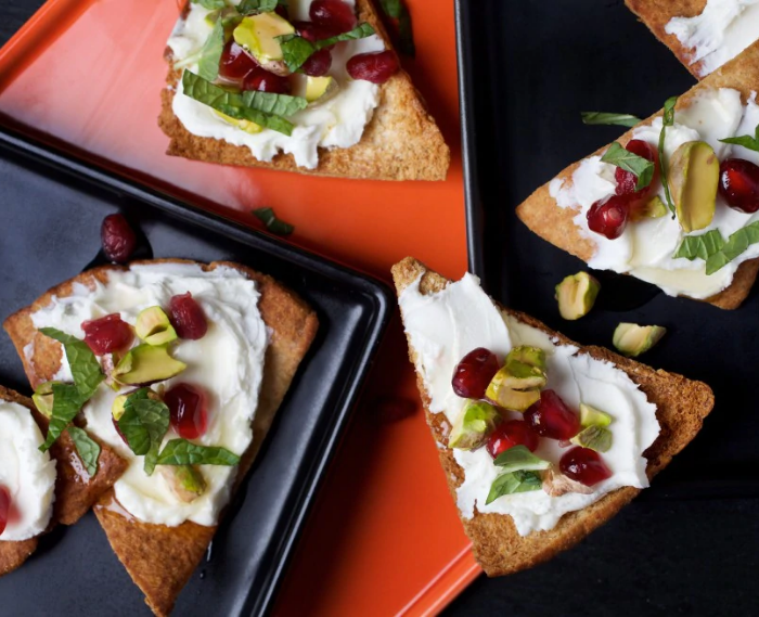 Goat Cheese Pita Toasts with Pomegranate, Pistachio and Mint