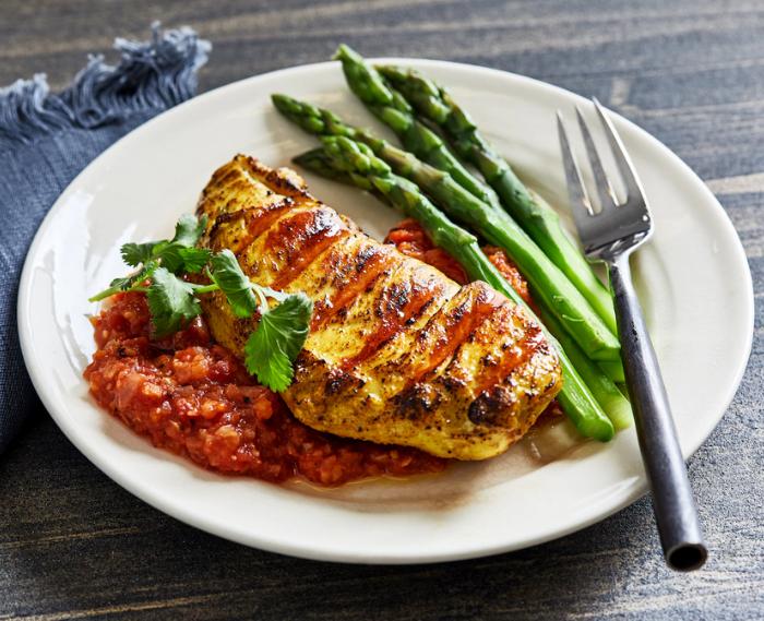 Golden Grilled Chicken With Tomato-Peanut Chutney