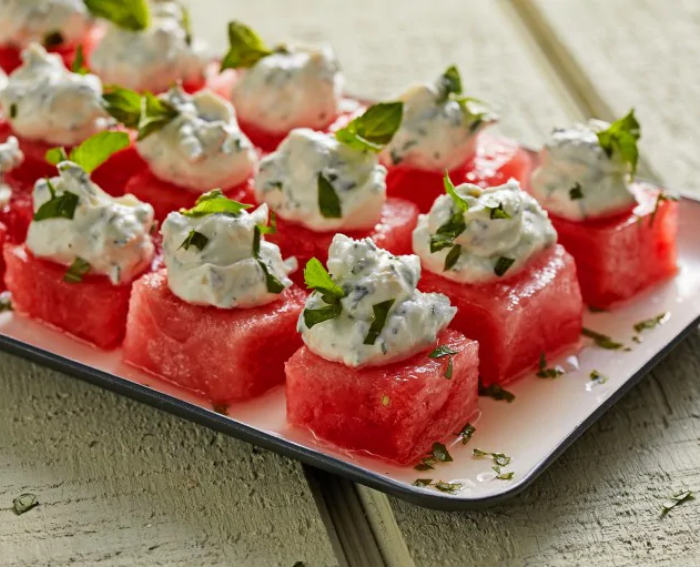 Watermelon With Herbed Goat Cheese Whip