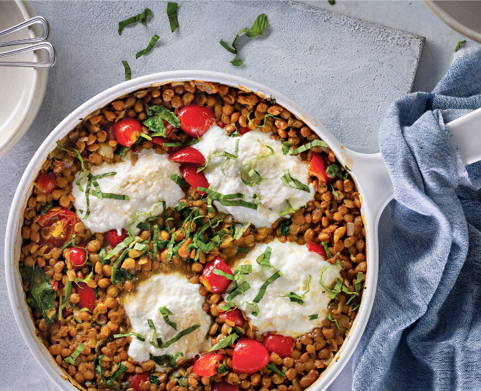 Herbed Lentil Skillet with Spinach, Tomatoes, and Ricotta