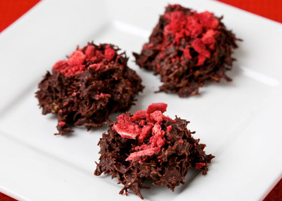 Chocolate Haystacks with Crushed Strawberries