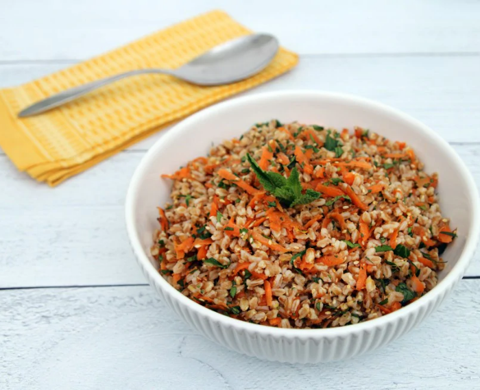Grain Salad With Carrot, Herbs and Sesame Seeds