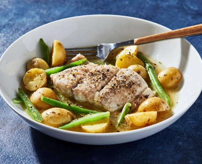 Roasted Fish With Potatoes and Green Beans in Pesto Broth