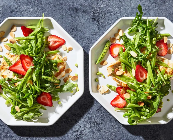 Grilled Chicken Paillards With Sugar Snap Pea and Strawberry Salad