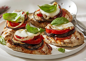 Grilled Chicken and Vegetable Mozzarella Melts